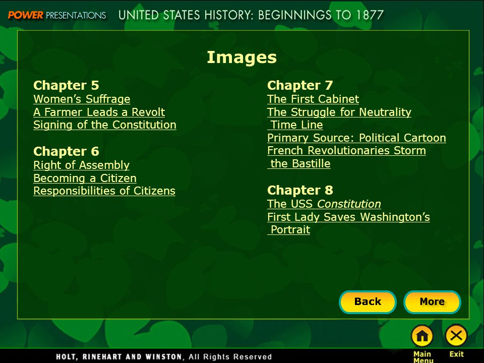 Images Chapter 9 The Erie Canal American Arts American Arts (continued) Chapter 10 Andrew Jackson Primary Source: Jackson against the Bank Indian Removal Chapter 11 Mormon Pioneers Manifest Destiny Battle of Buena Vista Staking a Claim Chapter 12 Textile Mill and Water Frame Mississippi River Steamboats The Steam Train Samuel Morse