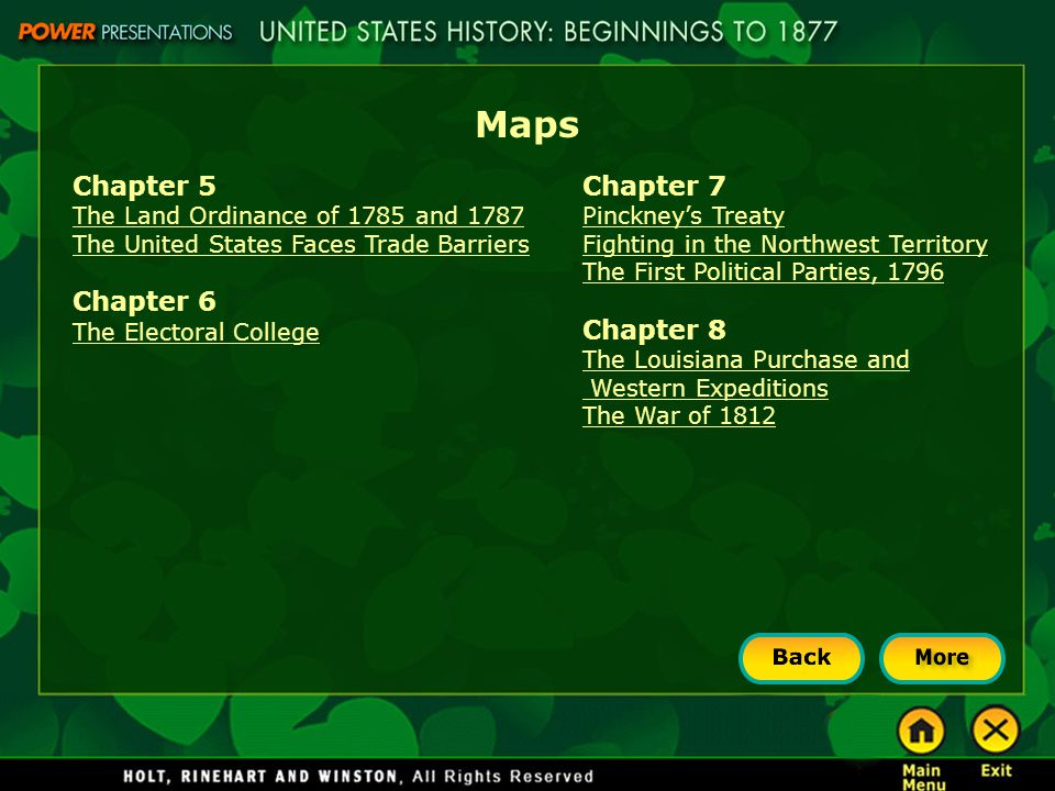 Maps Chapter 5 The Land Ordinance of 1785 and 1787 The United States Faces Trade Barriers Chapter 6 The Electoral College Chapter 7 Pinckney's Treaty