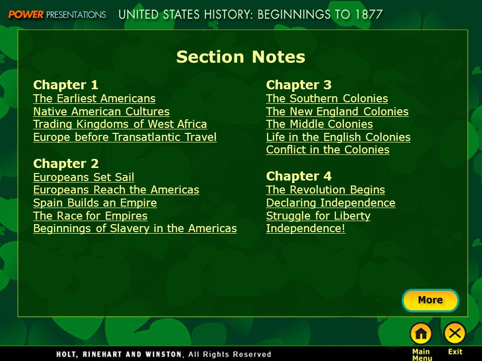Section Notes Chapter 1 The Earliest Americans Native American Cultures Trading Kingdoms of West Africa Europe before Transatlantic Travel Chapter 2 E