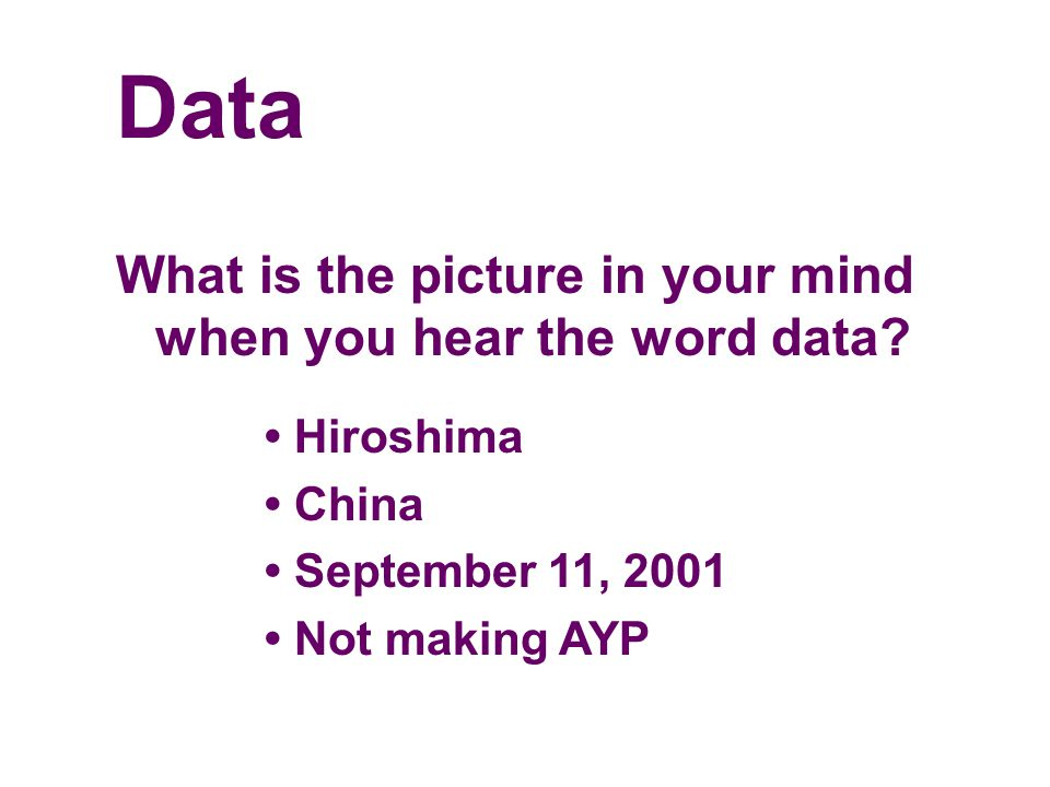 Data What is the picture in your mind when you hear the word data.