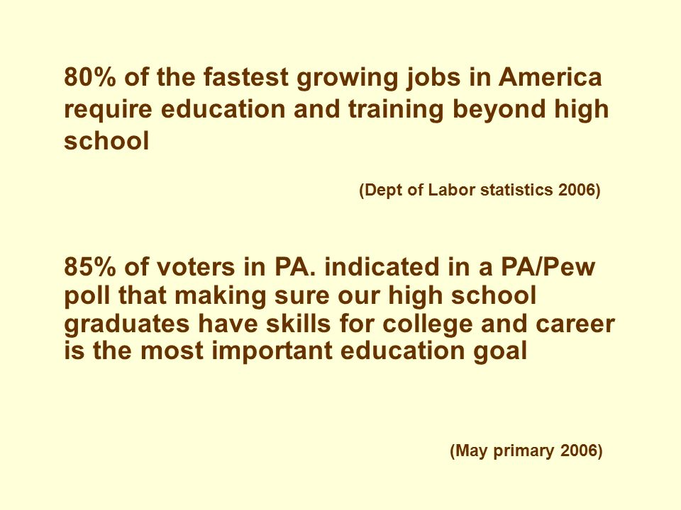 (Dept of Labor statistics 2006) (May primary 2006) 85% of voters in PA.
