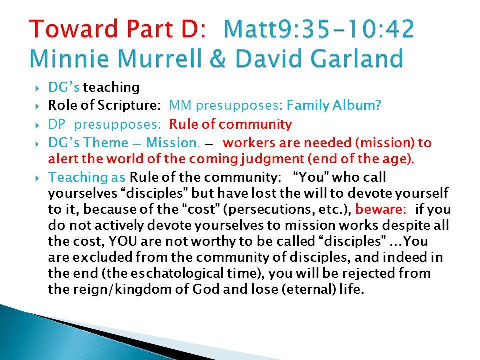  DG's teaching  Role of Scripture: MM presupposes: Family Album.