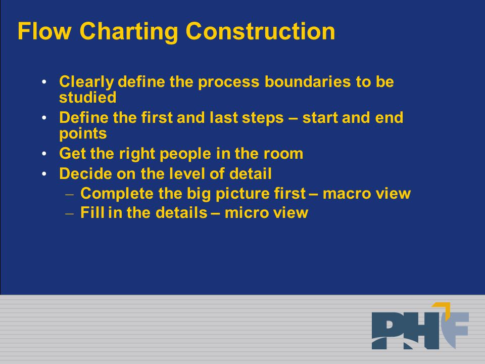 Flow Charting Construction Clearly define the process boundaries to be studied Define the first and last steps – start and end points Get the right people in the room Decide on the level of detail – Complete the big picture first – macro view – Fill in the details – micro view