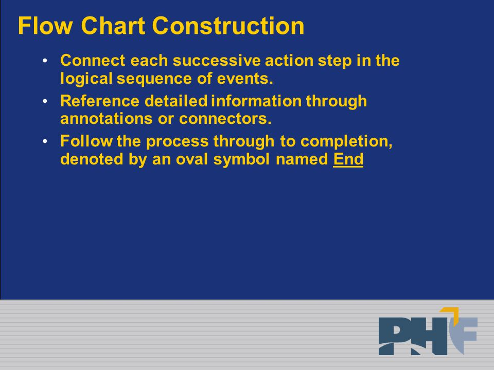 Flow Chart Construction Connect each successive action step in the logical sequence of events.