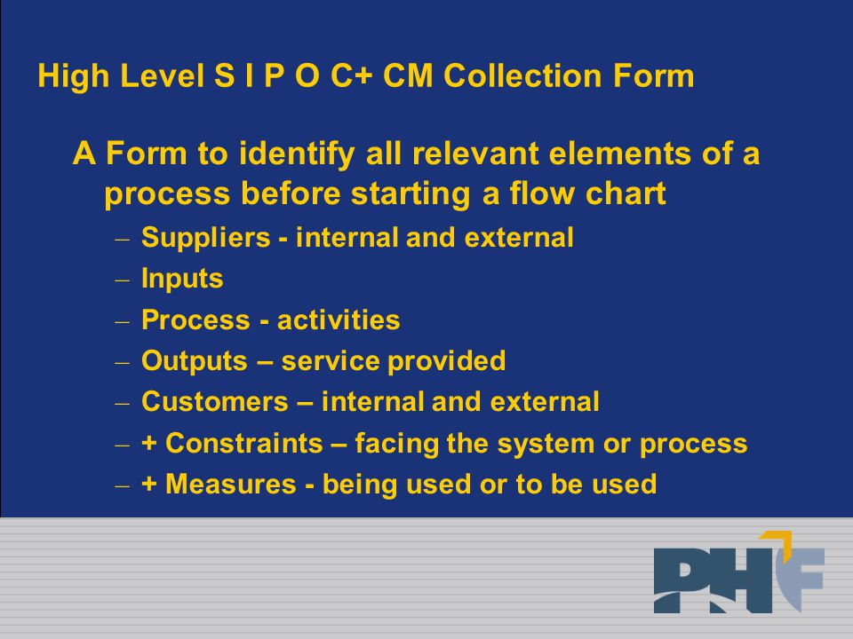 High Level S I P O C+ CM Collection Form A Form to identify all relevant elements of a process before starting a flow chart – Suppliers - internal and external – Inputs – Process - activities – Outputs – service provided – Customers – internal and external – + Constraints – facing the system or process – + Measures - being used or to be used