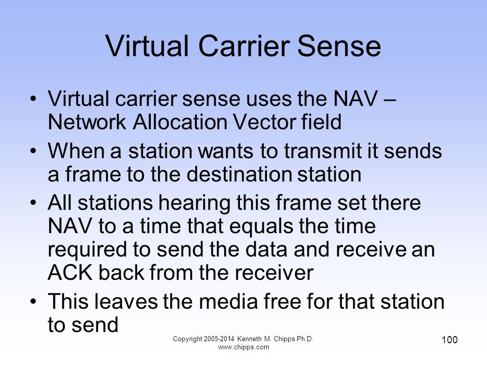 Virtual Carrier Sense Virtual carrier sense uses the NAV – Network Allocation Vector field When a station wants to transmit it sends a frame to the destination station All stations hearing this frame set there NAV to a time that equals the time required to send the data and receive an ACK back from the receiver This leaves the media free for that station to send 100 Copyright 2005-2014 Kenneth M.