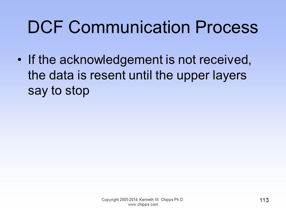 DCF Communication Process If the acknowledgement is not received, the data is resent until the upper layers say to stop Copyright 2005-2014 Kenneth M.