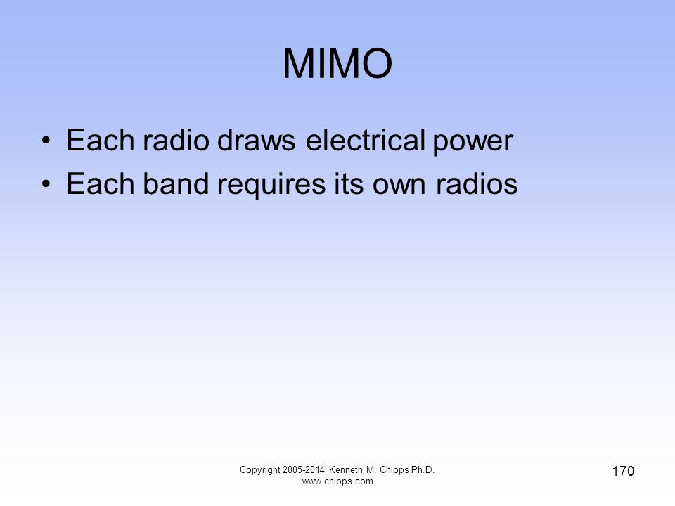 MIMO Each radio draws electrical power Each band requires its own radios 170 Copyright 2005-2014 Kenneth M.