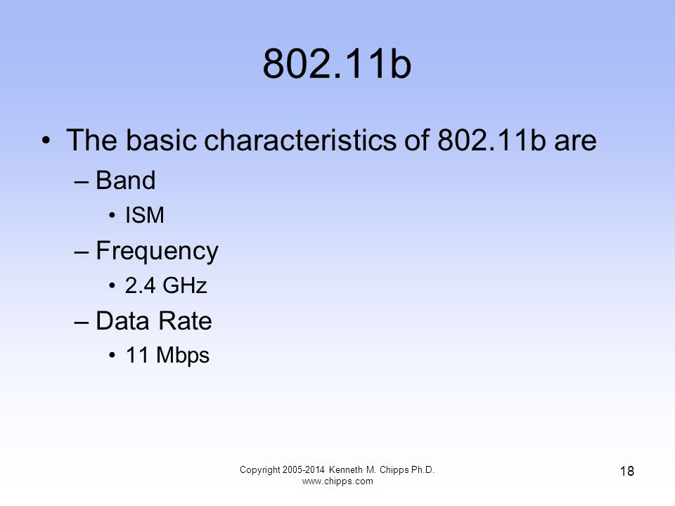 802.11b The basic characteristics of 802.11b are –Band ISM –Frequency 2.4 GHz –Data Rate 11 Mbps 18 Copyright 2005-2014 Kenneth M.
