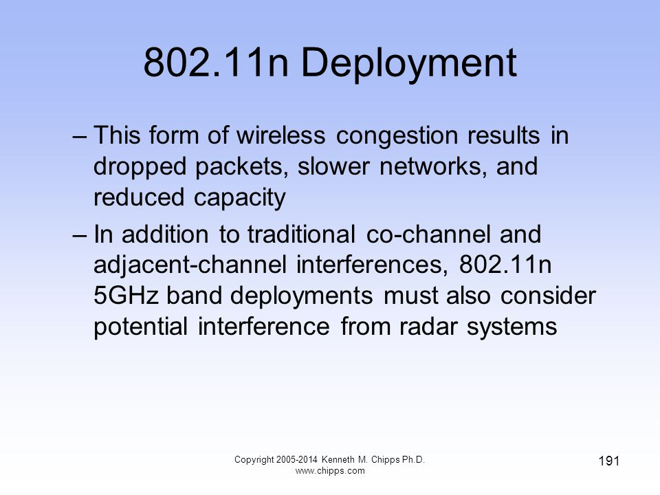 802.11n Deployment –This form of wireless congestion results in dropped packets, slower networks, and reduced capacity –In addition to traditional co-channel and adjacent-channel interferences, 802.11n 5GHz band deployments must also consider potential interference from radar systems Copyright 2005-2014 Kenneth M.