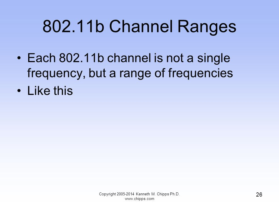 802.11b Channel Ranges Each 802.11b channel is not a single frequency, but a range of frequencies Like this 26 Copyright 2005-2014 Kenneth M.
