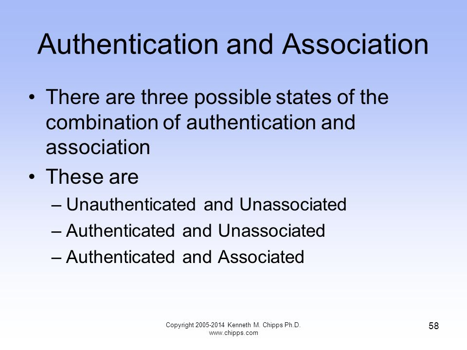 Authentication and Association There are three possible states of the combination of authentication and association These are –Unauthenticated and Unassociated –Authenticated and Unassociated –Authenticated and Associated 58 Copyright 2005-2014 Kenneth M.