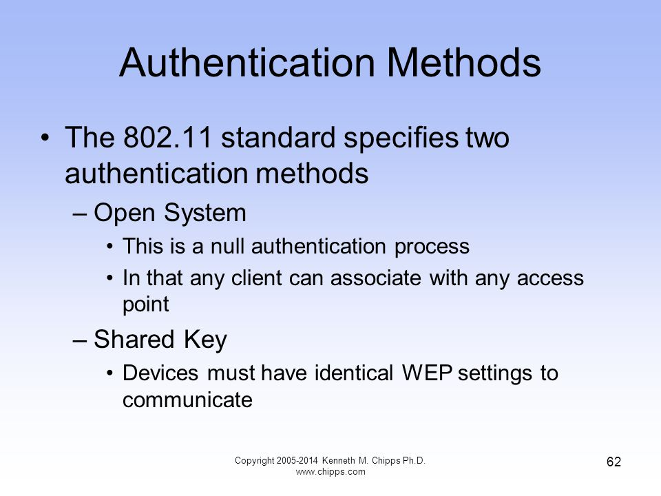 Authentication Methods The 802.11 standard specifies two authentication methods –Open System This is a null authentication process In that any client can associate with any access point –Shared Key Devices must have identical WEP settings to communicate 62 Copyright 2005-2014 Kenneth M.
