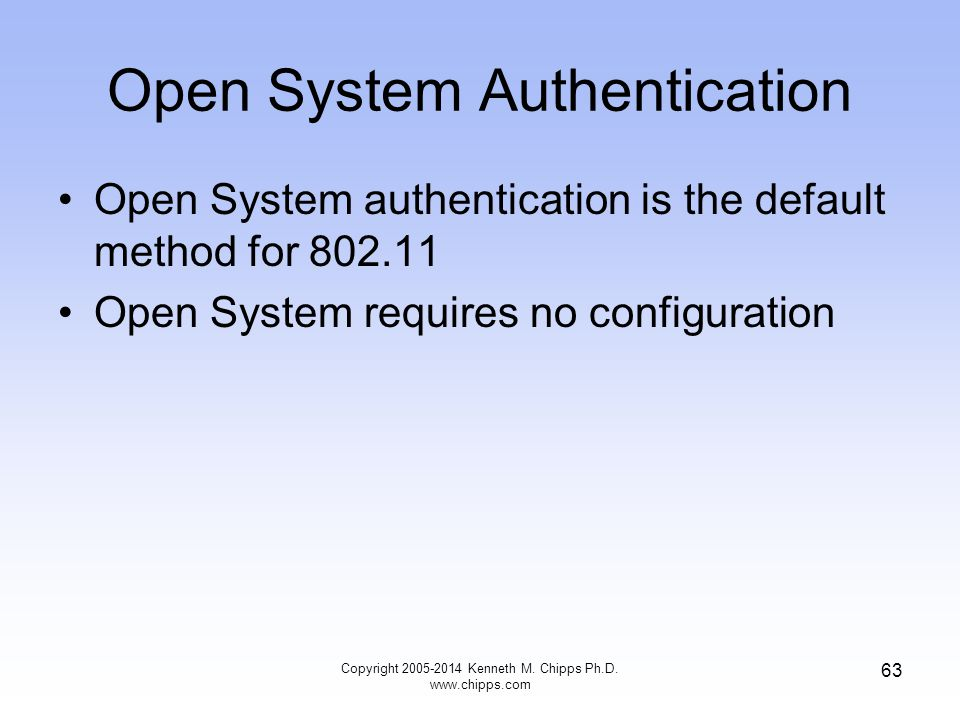 Open System Authentication Open System authentication is the default method for 802.11 Open System requires no configuration 63 Copyright 2005-2014 Kenneth M.