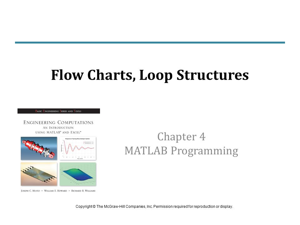 Flow Chart of while Loop The first line of this loop is: while (condition) Last line is: end Engineering Computation: An Introduction Using MATLAB and Excel (calculations) Condition true.