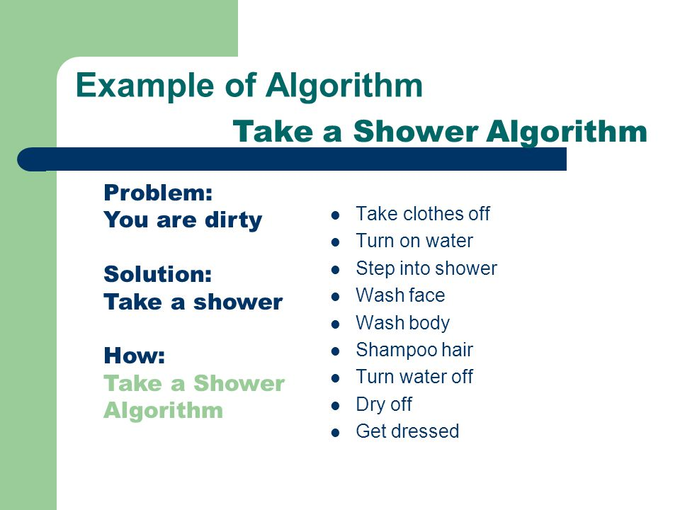 Example of Algorithm Take clothes off Turn on water Step into shower Wash face Wash body Shampoo hair Turn water off Dry off Get dressed Problem: You are dirty Solution: Take a shower How: Take a Shower Algorithm Take a Shower Algorithm