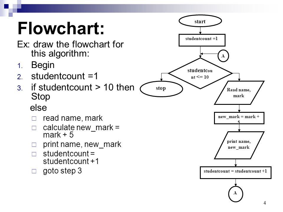 4 Flowchart: Ex: draw the flowchart for this algorithm: 1. Begin 2. studentcount =1 3. if studentcount > 10 then Stop else  read name, mark  calcula