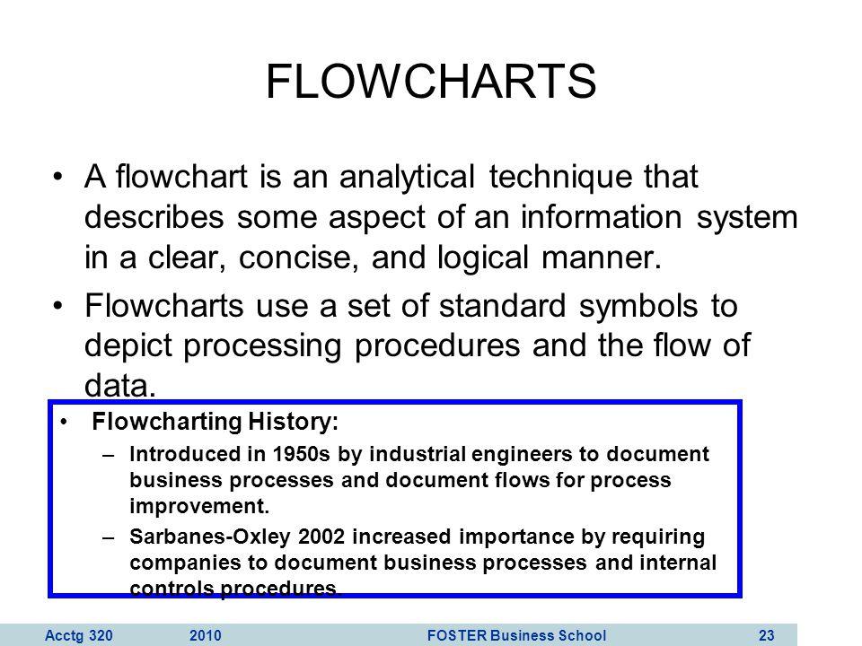 Acctg 320 2010 FOSTER Business School 24 FLOWCHARTS Every symbol on a flowchart depicts a unique operation, input, processing activity, or storage medium.