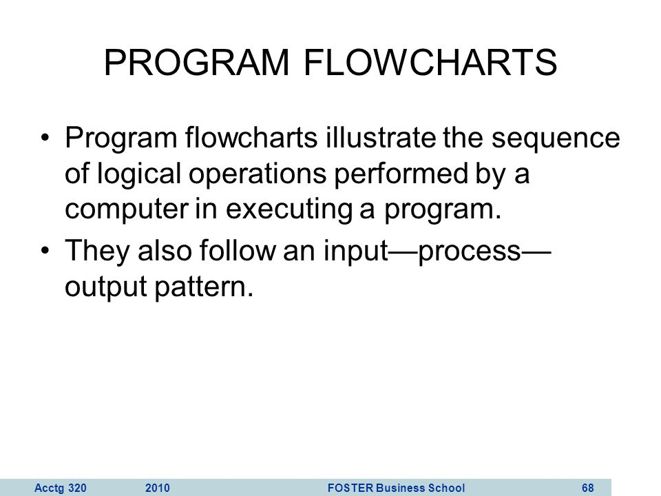 Acctg 320 2010 FOSTER Business School 69 The program flowchart from Figure 3-11 in your textbook is shown on the right.