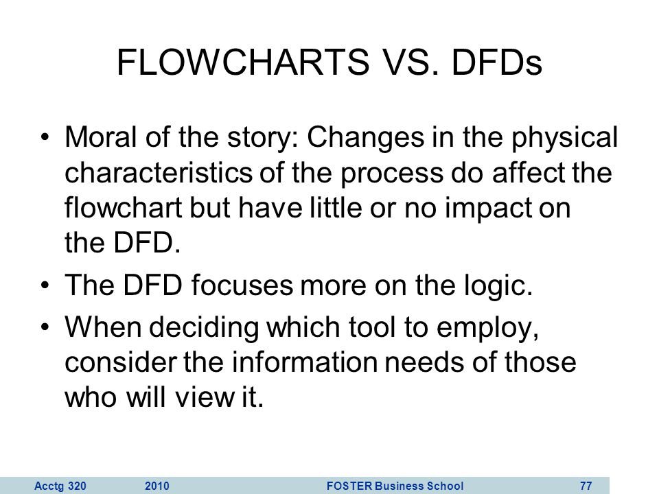 Acctg 320 2010 FOSTER Business School 78 QUIZ QUESTION How is playing the piano like making DFDs and flowcharts.
