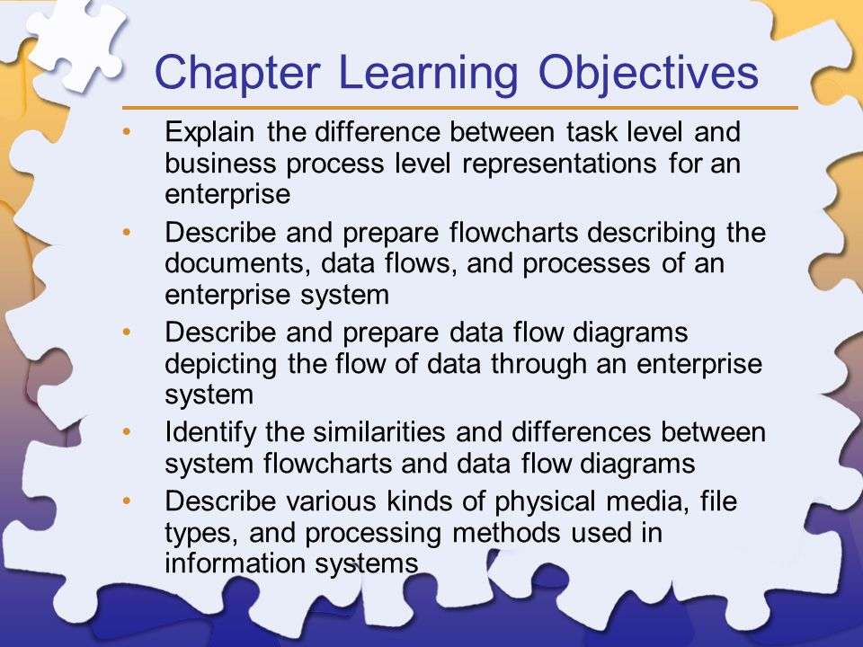 Chapter Learning Objectives Explain the difference between task level and business process level representations for an enterprise Describe and prepare flowcharts describing the documents, data flows, and processes of an enterprise system Describe and prepare data flow diagrams depicting the flow of data through an enterprise system Identify the similarities and differences between system flowcharts and data flow diagrams Describe various kinds of physical media, file types, and processing methods used in information systems