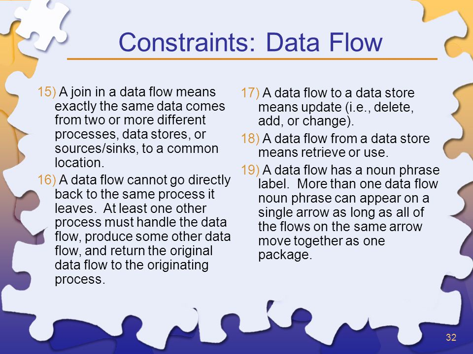 32 Constraints: Data Flow 15) A join in a data flow means exactly the same data comes from two or more different processes, data stores, or sources/sinks, to a common location.