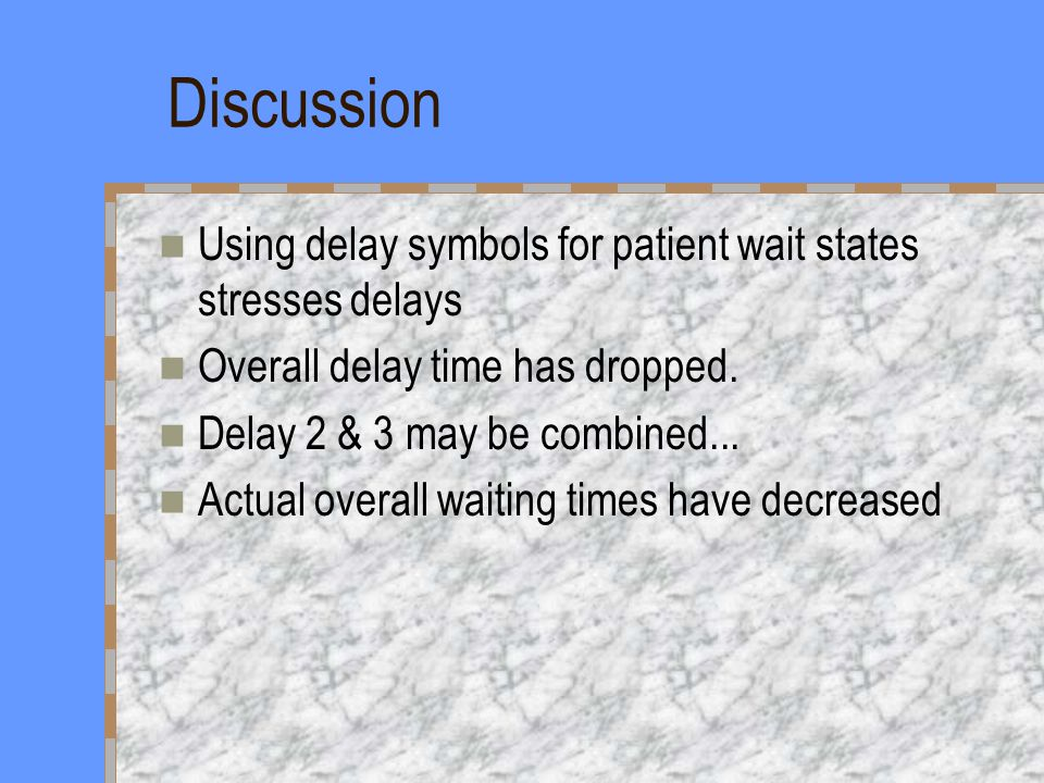 Discussion Using delay symbols for patient wait states stresses delays Overall delay time has dropped.