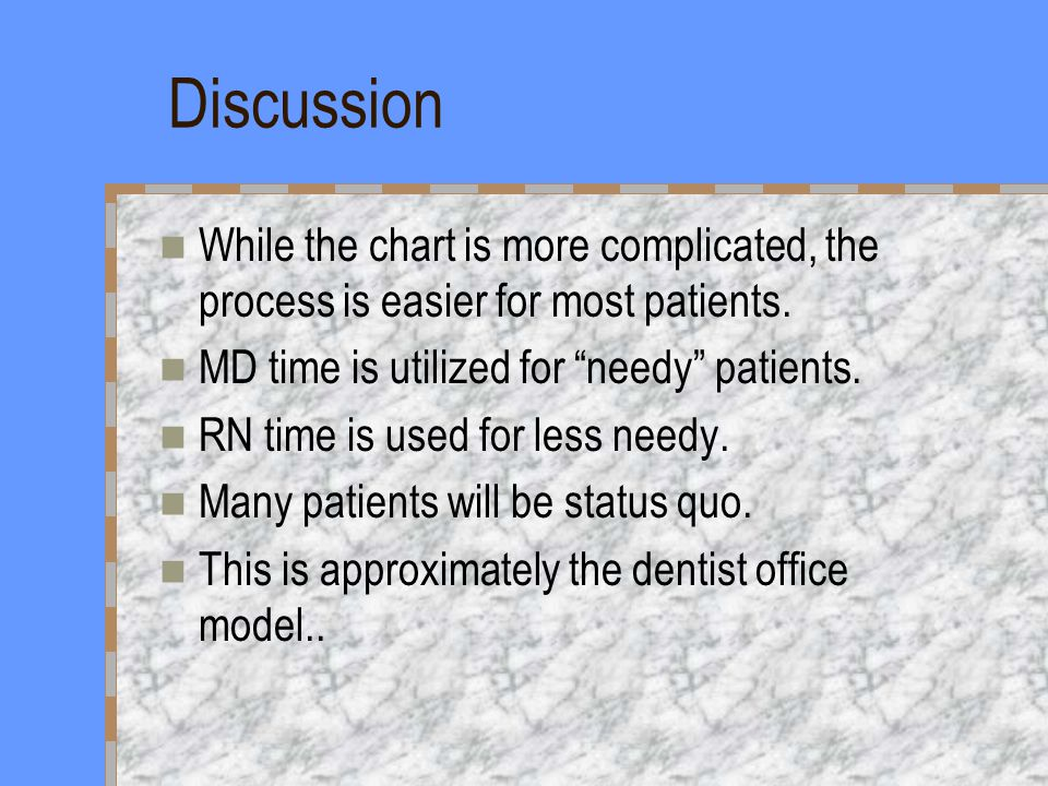Discussion While the chart is more complicated, the process is easier for most patients.