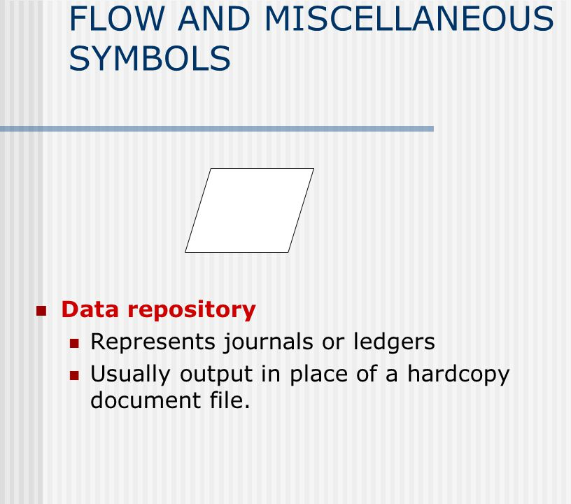 FLOW AND MISCELLANEOUS SYMBOLS Data repository Represents journals or ledgers Usually output in place of a hardcopy document file.