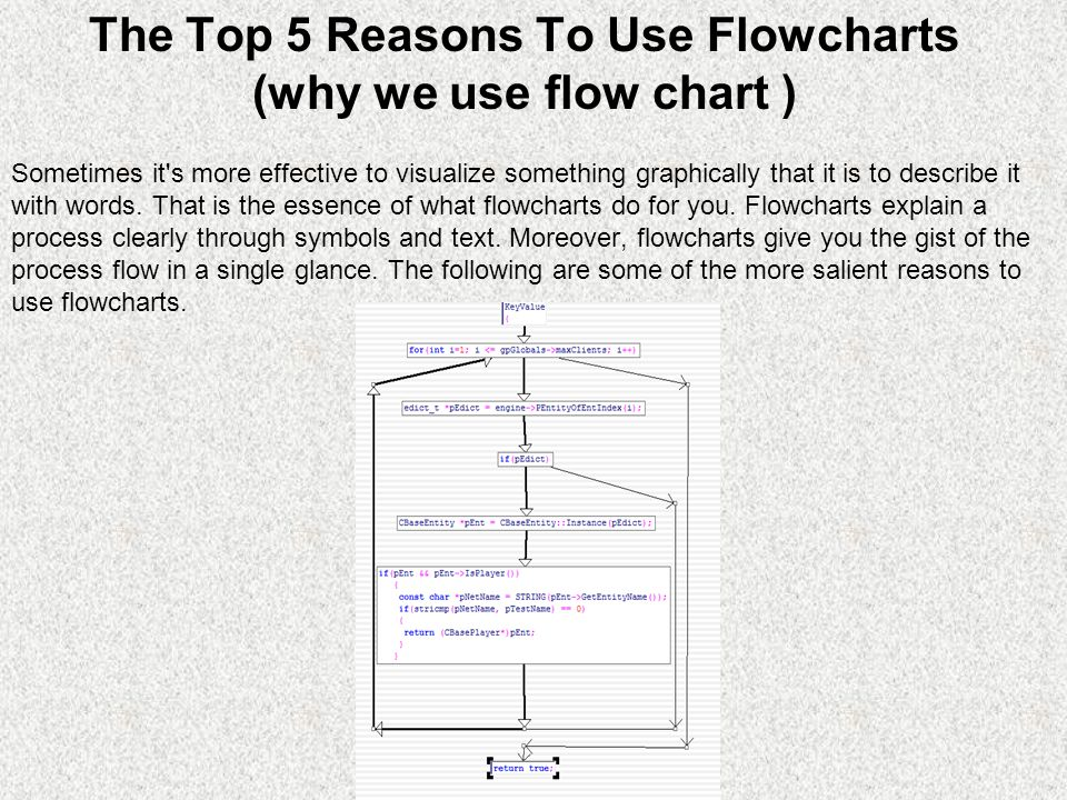 The Top 5 Reasons To Use Flowcharts (why we use flow chart ) Sometimes it s more effective to visualize something graphically that it is to describe it with words.