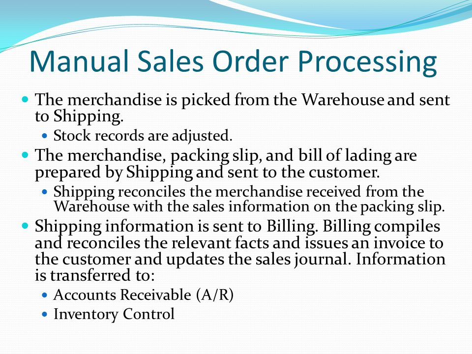 The merchandise is picked from the Warehouse and sent to Shipping.