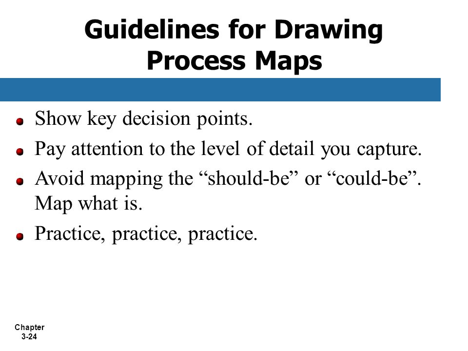 "Chapter 3-24 Show key decision points. Pay attention to the level of detail you capture. Avoid mapping the ""should-be"" or ""could-be"". Map what is. Pra"