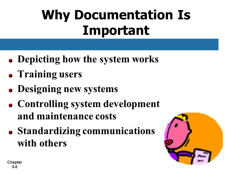 Chapter 3-5 Why Documentation Is Important Depicting how the system works Training users Designing new systems Controlling system development and main