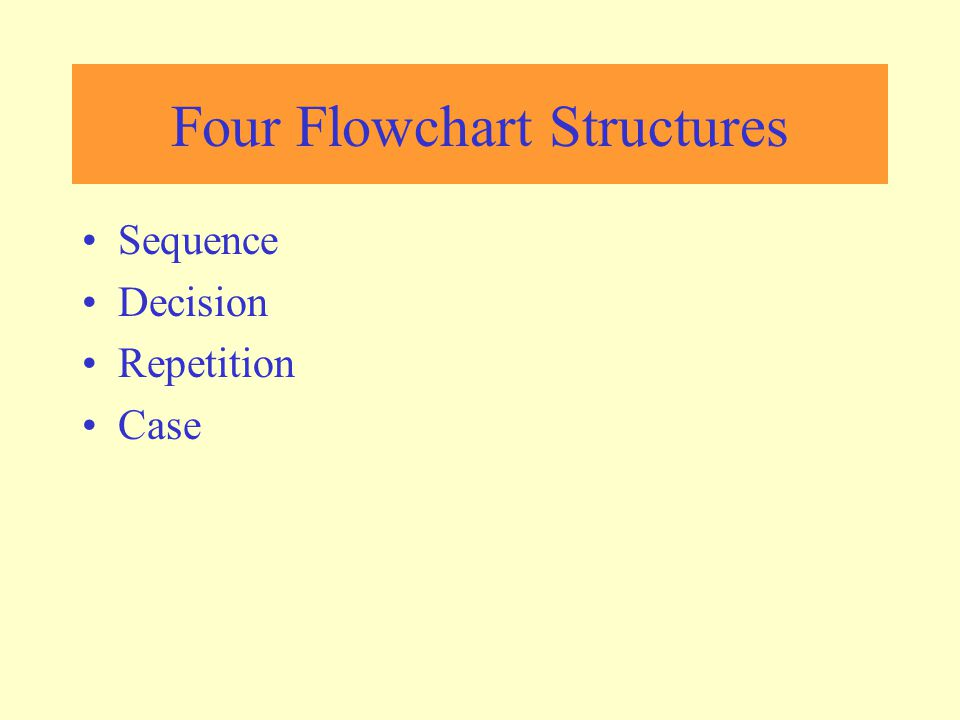 Sequence Structure a series of actions are performed in sequence The pay-calculating example was a sequence flowchart.