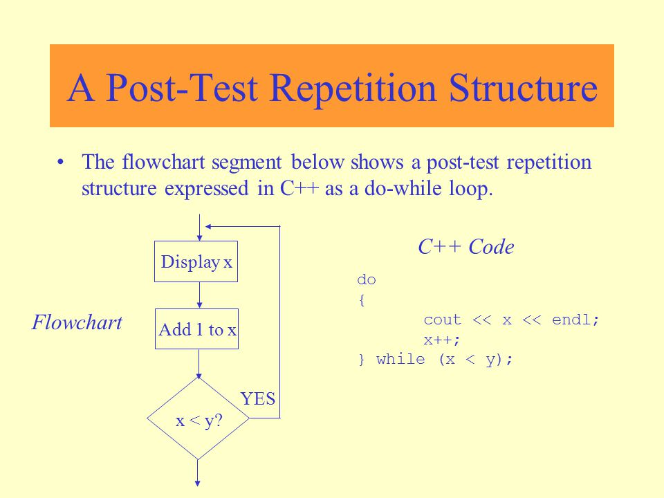 A Post-Test Repetition Structure The flowchart segment below shows a post-test repetition structure expressed in C++ as a do-while loop. do { cout <<