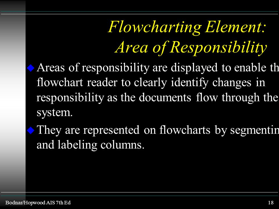 Bodnar/Hopwood AIS 7th Ed17 Flowchart Element : Flow Lines u Arrows are used when the documents or information flow is not left-to-right or top- to-bo