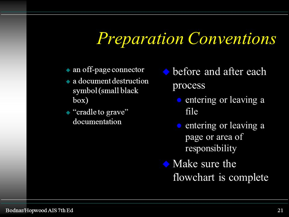 Bodnar/Hopwood AIS 7th Ed20 Preparation Conventions u Left-to-right, Top-to-bottom u All documents must have an origin and termination l indicate orig
