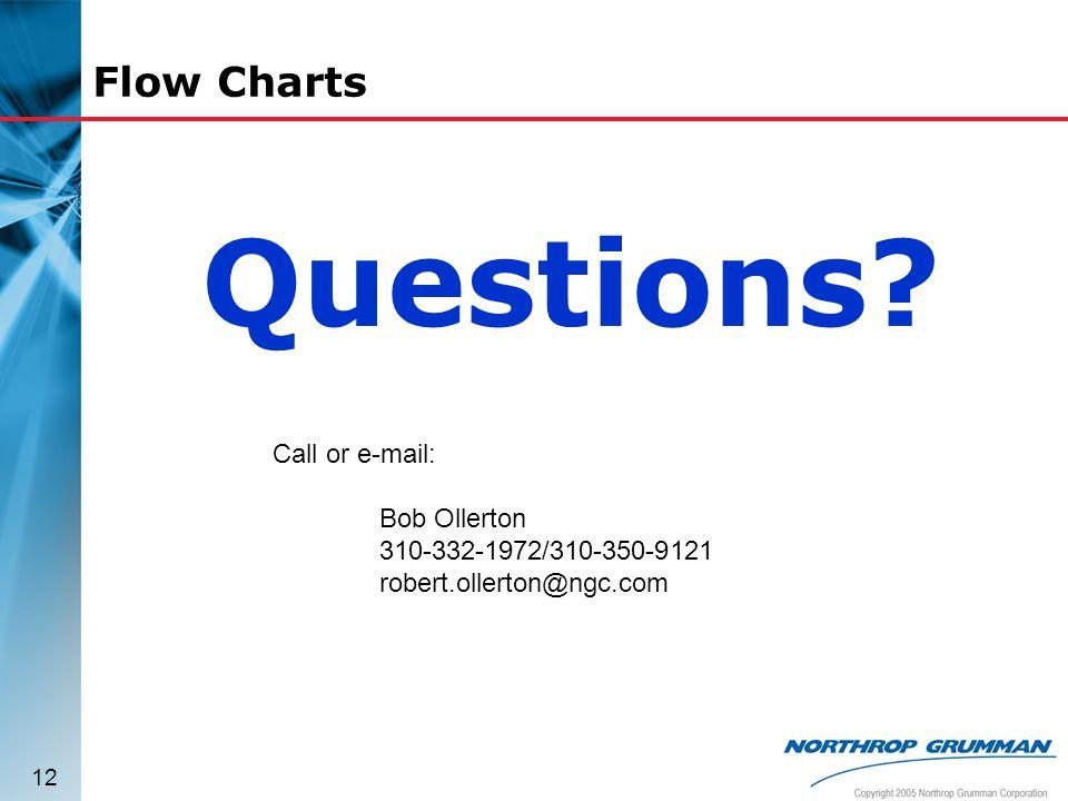 12 Flow Charts Questions? Call or e-mail: Bob Ollerton 310-332-1972/310-350-9121 robert.ollerton@ngc.com