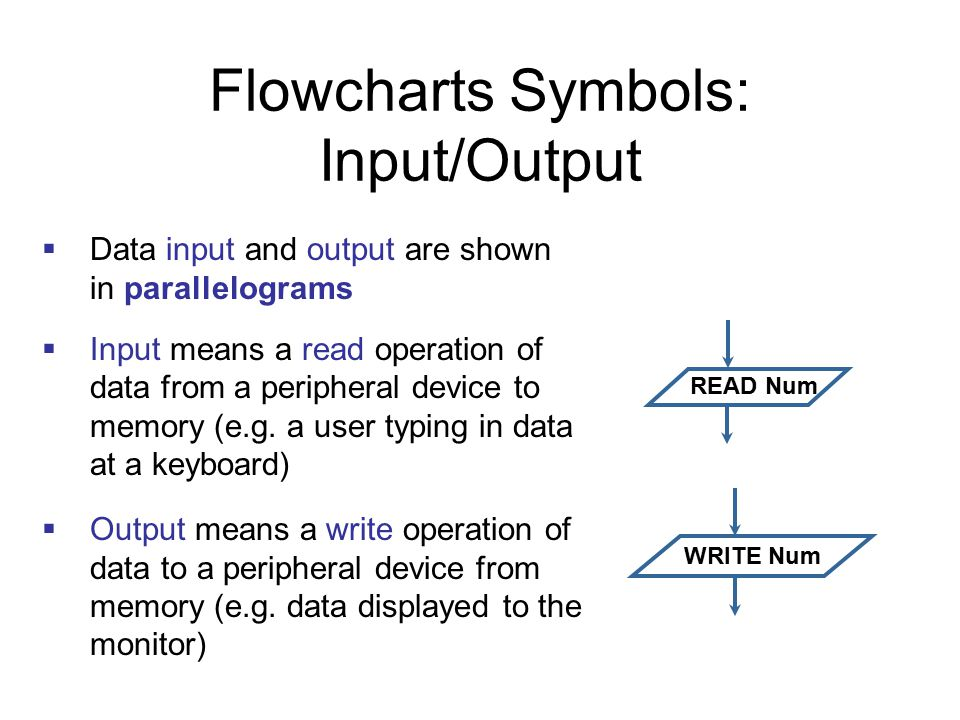 Flowcharts Symbols: Input/Output  Data input and output are shown in parallelograms  Input means a read operation of data from a peripheral device t