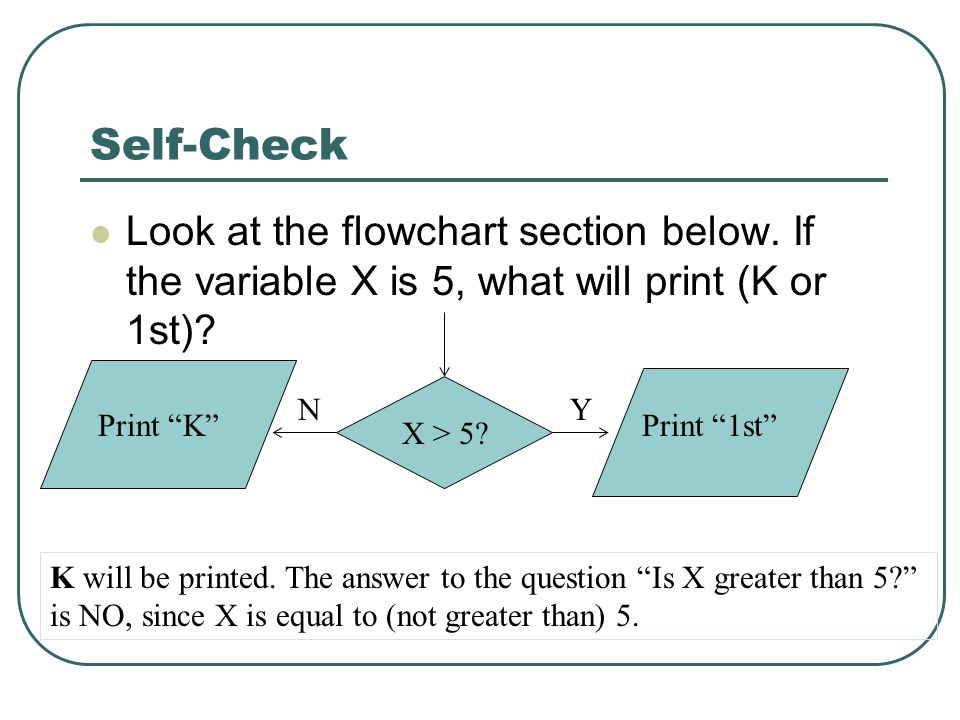Self-Check Look at the flowchart section below. If the variable X is 5, what will print (K or 1st).