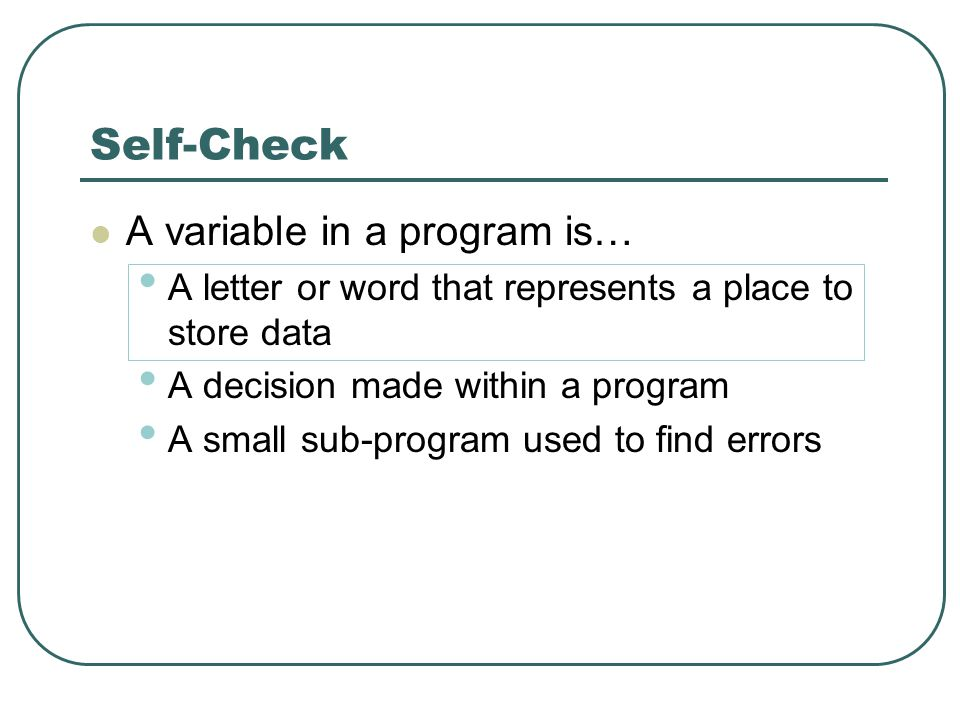 Self-Check A variable in a program is… A letter or word that represents a place to store data A decision made within a program A small sub-program used to find errors