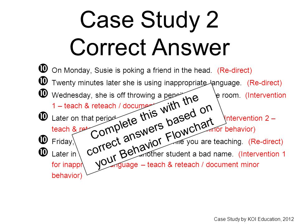 Case Study by KOI Education, 2012 Case Study 2 Correct Answer  On Monday, Susie is poking a friend in the head. (Re-direct)  Twenty minutes later sh