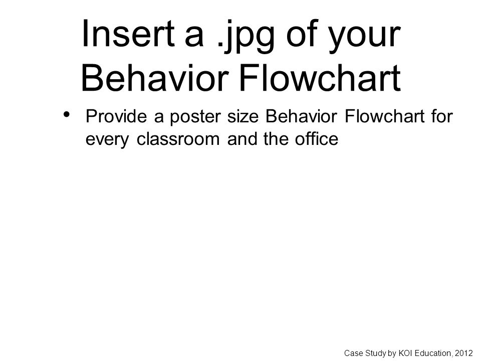 Case Study by KOI Education, 2012 Insert a.jpg of your Behavior Flowchart Provide a poster size Behavior Flowchart for every classroom and the office
