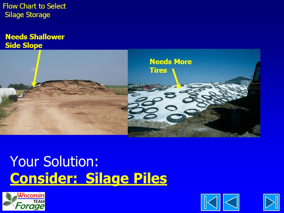 Your Solution: Consider: Silage Piles Flow Chart to Select Silage Storage Needs Shallower Side Slope Needs More Tires