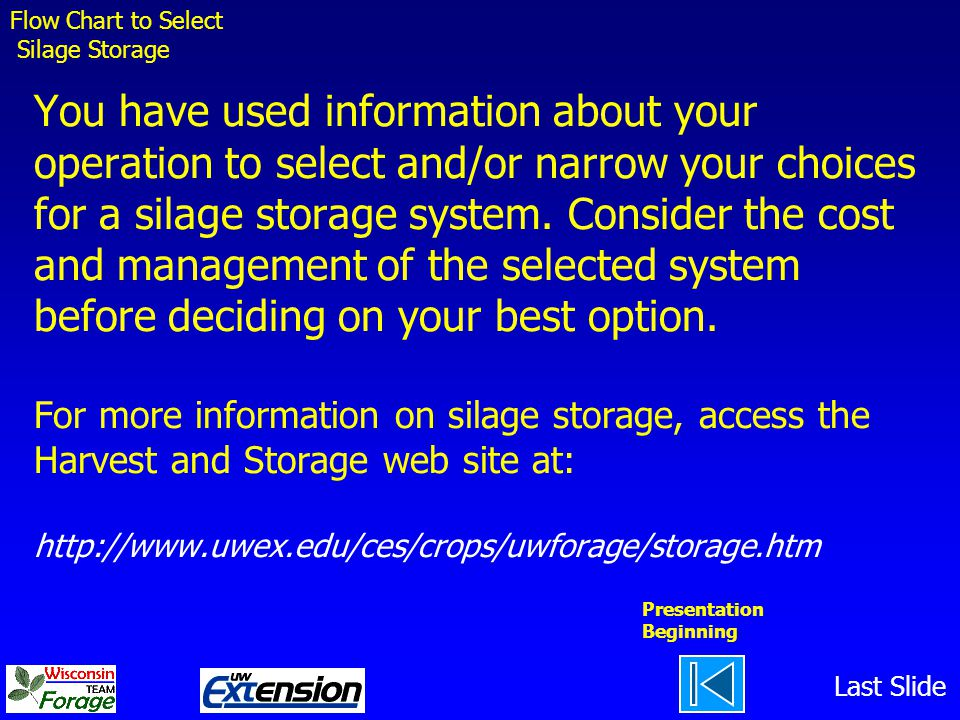 You have used information about your operation to select and/or narrow your choices for a silage storage system.