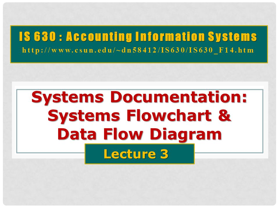 IS 630 : Accounting Information Systems http://www.csun.edu/~dn58412/IS630/IS630_F14.htm Systems Documentation: Systems Flowchart & Data Flow Diagram