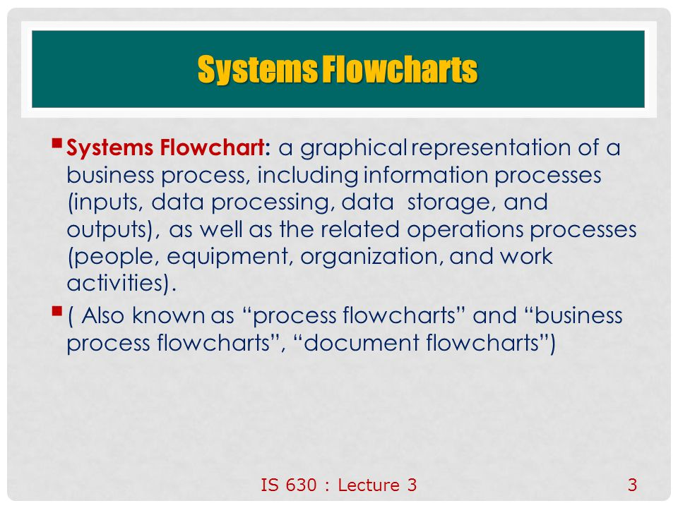 Systems Flowcharts  Systems Flowchart: a graphical representation of a business process, including information processes (inputs, data processing, da