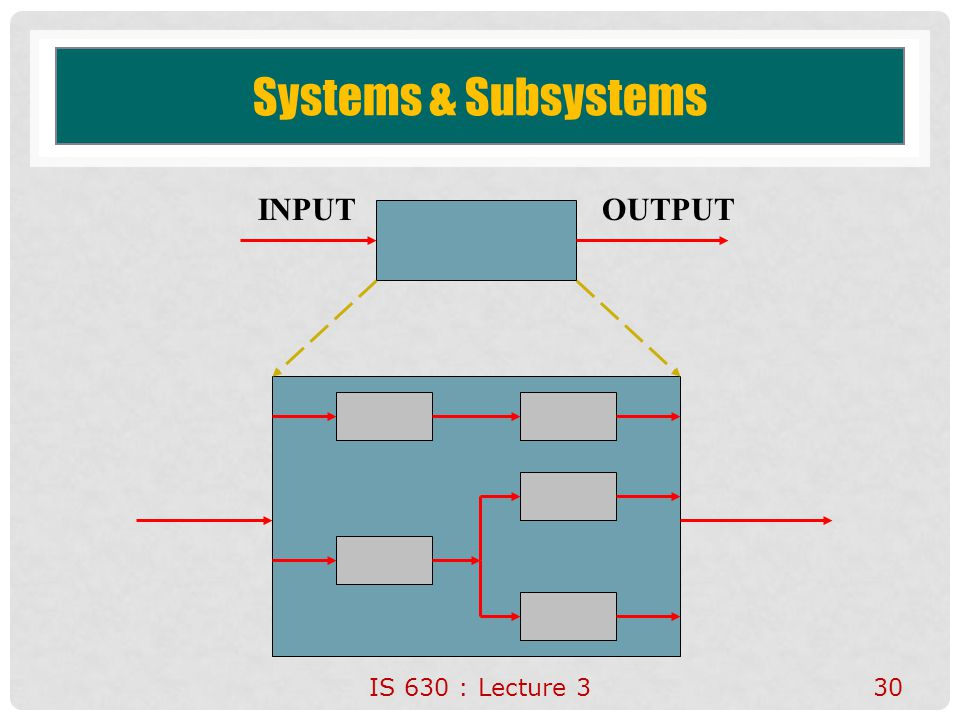 30 Systems & Subsystems INPUTOUTPUT IS 630 : Lecture 3