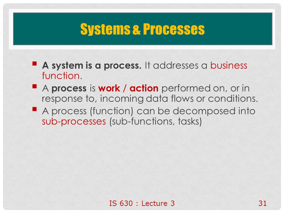 31 Systems & Processes  A system is a process. It addresses a business function.  A process is work / action performed on, or in response to, incomi