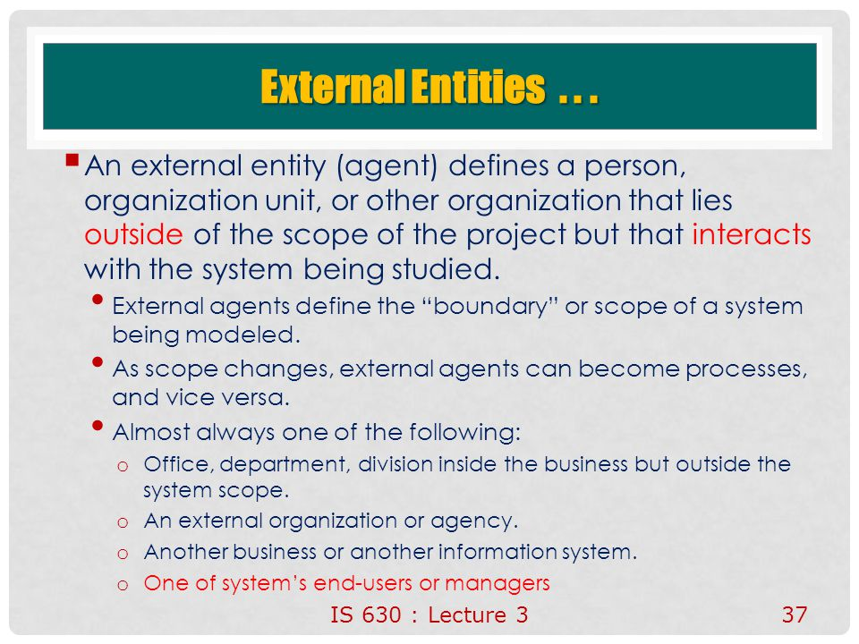 IS 630 : Lecture 337 External Entities...  An external entity (agent) defines a person, organization unit, or other organization that lies outside of